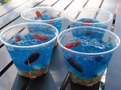 "Jello Fish Bowls neat idea!!  ""Deep Sea Water"" for pirate party snack"