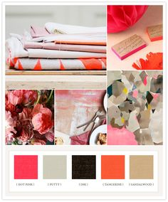 Neon + neutral colorboard: hot pink, putty, ink, tangerine, sandalwood.