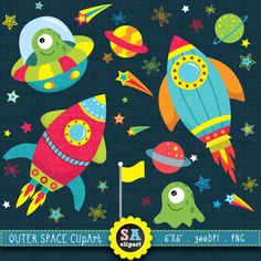 "Outer space clipart:""OUTER SPACE"" clip art pack,spaceship,planets,rockets,stars perfect for scrapbooking,invitations,party card Ca003"