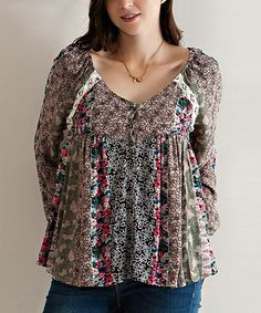 Another great find on #zulily! Mocha Floral Lace Peasant Tunic #zulilyfinds