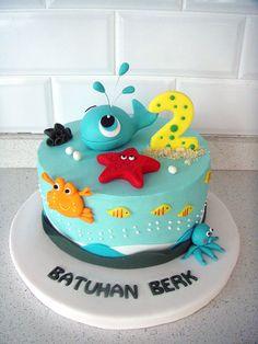 Deniz & Balina Temalı Butik Doğumgünü Pastası Sea & Whale Birthday Fondant Cake