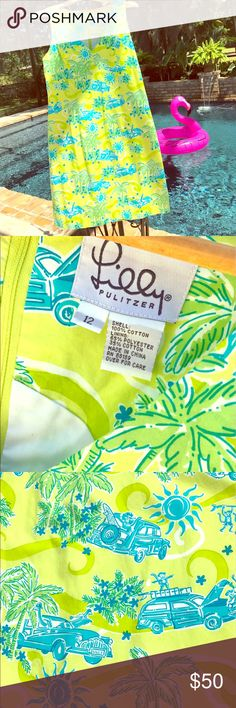 🐵🌴 Lilly Pulitzer tropical monkey dress 🌴🐵 WOMEN'S LILLY PULITZER TROPICAL MONKEY GIRAFFE PALM TREE CAR SUN LIME GREEN DRESS *cruise resort wear  Size 12 Lined Back zipper  Excellent condition! Lilly Pulitzer Dresses Midi