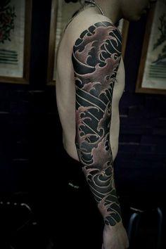 кДтё☆ρσℓє Full Body Tattoo, Full Sleeve Tattoos, Cover Up Tattoos, Fake Tattoos, Tattoo Sleeve Designs, Black Tattoos, Body Art Tattoos, Mens Tattoos, Japanese Wave Tattoos