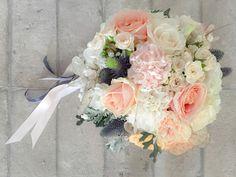 peach navy wedding,