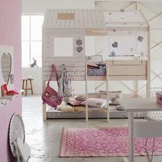 Life Time SilverSparkle Hochbett, white washed und silber, Hochbett für Mädchen