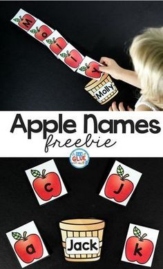 Apple Names - Name Building Practice Printable - A Dab of Glue Will Do Apple Names! Have the kids pick the apples and spell their name- a great way for kids to learn how to read their name this fall or during an apple unit! Name Activities Preschool, Preschool Apple Theme, Kindergarten Names, Autumn Activities, Preschool Crafts, Preschool Apples, Apple Crafts For Preschoolers, Apple Theme Classroom, Kindergarten Apples
