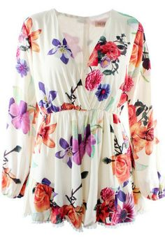 Floral High Waist Playsuit (WHITE)