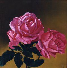 Rosas, óleo sobre lienzo, 70 x 70 cm, 2006.  www.juanlascano.com.ar
