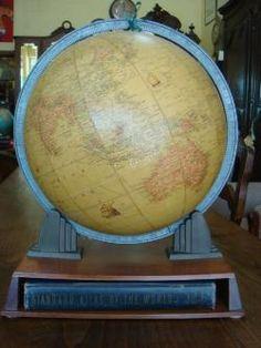 Art Nouveau and Art Deco, Vintage World Globes with Atlas