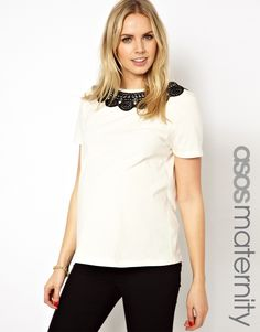 ASOS Maternity | ASOS Maternity Top with Lace Collar at ASOS