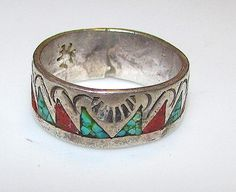 Native American Navajo Old Pawn Sterling Silver 925 Turquoise Coral Chip Inlay Hand Etched Band Ring Band Size 6.5
