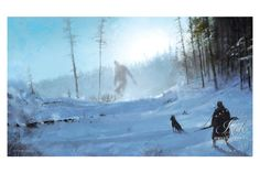 """Ancient Yeti • Illustrated by Jakub """"Mr. Werewolf"""" Rozalski • Archival pigment print • Printed on Hahnemühle Fine Art Baryta 325 GSM fiber paper • Varying sizes available Hand-numbered, limited editio"""