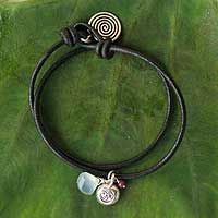 double strand leather cord, silver charm, blue stone