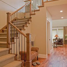 Amazing Carpeted Stairs With Wood Treads (like The Wood Color And The Black Rails  In Between)