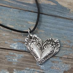Ornate Spoon Heart Necklace - Flowery Pendant - Inspired by Antique Victorian Silverware - Doctorgus Handmade Pewter Jewelry - Cute Boho by doctorgus on Etsy