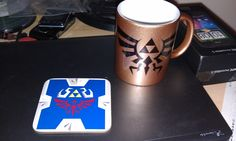 Hylian Triforce coffee cup and coaster
