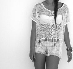 Sexy summer cute outfit, white bandeau, white lace top, shorts