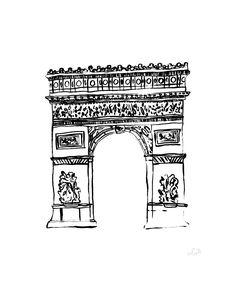 Arc de Triomphe, Paris watercolor poster print