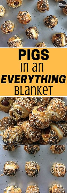 "Two finger food favorites collide as pigs in a blanket get an everything bagel makeover.The ""blanket"" of this playful appetizer is made with fresh pizza dough that is first boiled, brushed with egg wash, and rolled in an ""everything"" seasoning blend  before being baked. Serve them up with a tangy cream cheese dip for a party-perfect snack platter. 