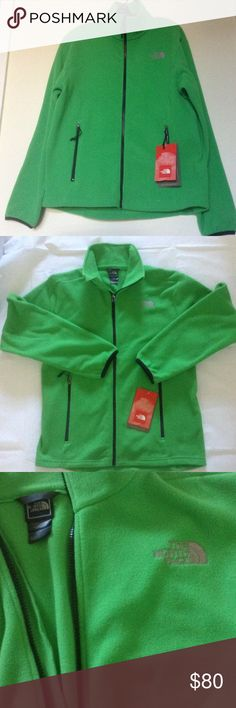 """💙North Face Men's Full Zip Tibesti Fleece Jacket New with tags, brand new, never worn. 100% polyester. Color: Sport Green. Measurement: 42"""" chest, 27"""" length ( shoulder to hem) North Face Jackets & Coats"""