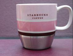 Pink Stripes Starbucks COFFEE MUG cup Urban Stainless brown metal band 2007 #Starbucks