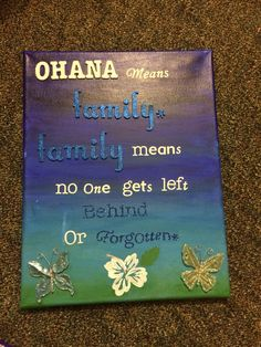 Lilo stitch painting ohana means family love this quote for Lilo and stitch arts and crafts
