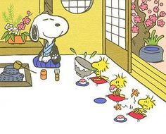 Snoopy, Woodstock and Friends Doing Japanese Tea Ceremony