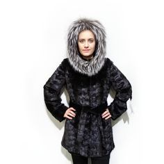 Black Mink Fur Sheared Coat with Fox Trim Hood,Woman Fur Coat F198 #coat #fur #black #mink #fox #hood #silverfox