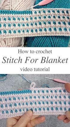 Crochet Stitches For Blankets, Crochet Stitches Free, Crochet Blanket Patterns, Baby Blanket Crochet, Knitting Stitches, Easy Crochet, Crochet Afghans, Crochet Blanket Tutorial, Different Crochet Stitches
