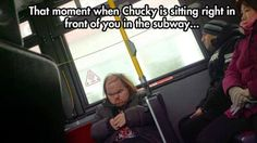 Chucky on the subway...      #jokes #funny #images #joke