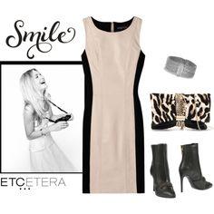Etcetera | Holiday 2015: TEMPT ecru leather and black knit sheath dress. www.etcetera.com.