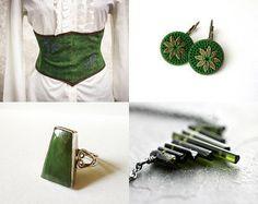 #handmade #crochet #textile #green #geometric #fiber #earrings #jewelry #jewellery #bronze #brass #silk #thread #bohemian #young #fashion #trends #spring #summer
