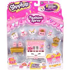 Grace and style to make you dance down the aisle! That's what the Ballet Collection is all about! These little Ballerina Dreamers are Tutu Cute! Comes with 8 adorable Shopkins that are ready to step out on stage! Pull up a stool and make your new friends twirl to the playful piano. Get ready for the curtain call. It's ShowTime!<br><br>Get ready to glam up! It's time for a Fashion Spree! Step in and see what's in store. Designer shoes for you to choose. New seasons styles to make you smile…
