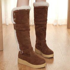 Comfortable&concise Knee High Flat Boot - stylishplus.com