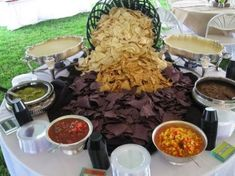 Wedding Reception Food Chips and Salsa Bar ~ Fantastic idea of the different types of chips not only for flavor but also for display color ♥ Rockwell Catering and Events Salsa Bar, Diy Wedding Food, Wedding Catering, Taco Bar Wedding, Wedding Food Bar Ideas, Wedding Snacks, Mexican Wedding Reception, Diy Wedding Buffet, Wedding Ceremony