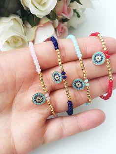 Ideas For Diy Bracelets Elastic Seed Bead Bracelets, Seed Bead Jewelry, Beaded Jewelry, Beaded Necklace, Seed Beads, Etsy Jewelry, Evil Eye Jewelry, Evil Eye Bracelet, Diy Schmuck