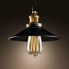 Industrial Pendant Light, Black Metal Chandelier Lamp Shade Vintage Ceiling Light Modern Copper E27 Base Pendant Lighting for Kitchen, Living Room, Bedroom, Loft and Restaurant - Oak Leaf