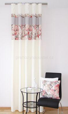 Luxusni Hotovy Zaves Na Okno V Kremove Barve S Kvetinovym Vzorem