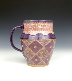 This mug was hand thrown on the potters wheel. The pattern was achieved by carving through layers of colored underglaze. The rest of the mug was hand textured to improve the tactile experience of drinking from it while you sip on your warm coffee or tea. It is food, dishwasher and microwave safe. Each cup holds approximately 12 oz of your favorite beverage. Please check out more of our cups here https://www.etsy.com/shop/firenfluxhandmade?section_id=12494411