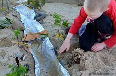 This imaginative play set up is easy to put together and loads of fun! Make a river in your sandpit that really holds water!