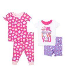 Newborn Girl Short Sleeve Pajama 4pc Set