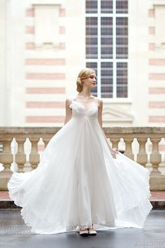 chiffon wedding dress, #white