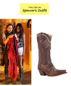 """On the blog - Spencer's (Troian Bellisario) cowboy boots   Pretty Little Liars - """"The Hoe is Going Down"""" (Ep. 411) #pll #western #cowgirl #tvfashion #tvstyle #outfits #fashion #hoedown"""