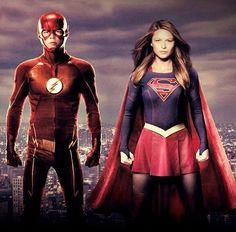Grant Gustin (Barry Allen/The Flash) and Melissa Benoist (Kara Danvers/Supergirl)