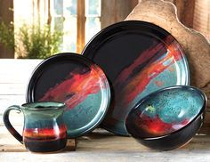 Just have a look at this Lone Star Western Decor exclusive! Moody shades of turquoise, black and red create a nighttime landscape on the handmade stoneware clay Midnight Sun Pottery Dinnerware. Four-piece rustic dinnerware place setting includes 10 Stoneware Clay, Ceramic Plates, Ceramic Art, Glazes For Pottery, Ceramic Pottery, Pottery Art, Slab Pottery, Rustic Dinnerware, Black Forest Decor
