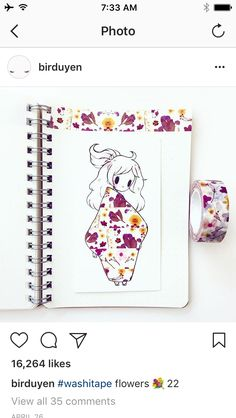floral washi tape girl