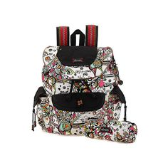 Sakroots Artist Circle Flap Backpack ($79) ❤ liked on Polyvore featuring bags, backpacks, optic songbird, women's, black laptop backpack, laptop rucksack, black key ring, laptop travel backpack and detachable key ring