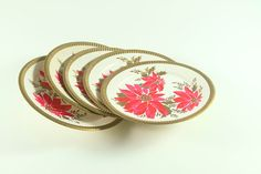 Items similar to Vintage Christmas Poinsettia Paper Dessert Plates Set of 5 Christmas Holiday Decor Craft Supplies on Etsy Christmas Items, Vintage Christmas, Christmas Holidays, Vintage Crafts, Vintage Ephemera, Christmas Poinsettia, Dessert Plates, Plate Sets, Decor Crafts