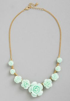 Bead of Roses Necklace in Mint - Mint, Solid, Flower, Wedding, Pastel, Darling, Gold, Good, Variation
