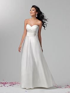 Alfred Angelo style 2381 satin, rhinestones, crystal beading and sequins, optional spaghetti straps, sweep train